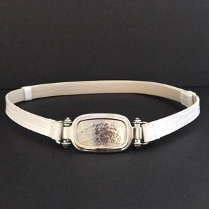 Chico's White Adjustable Belt Project Buckle S/M
